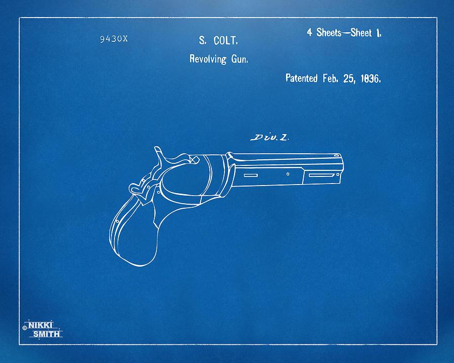 Colt Revolver Digital Art - 1836 First Colt Revolver Patent Artwork - Blueprint by Nikki Marie Smith