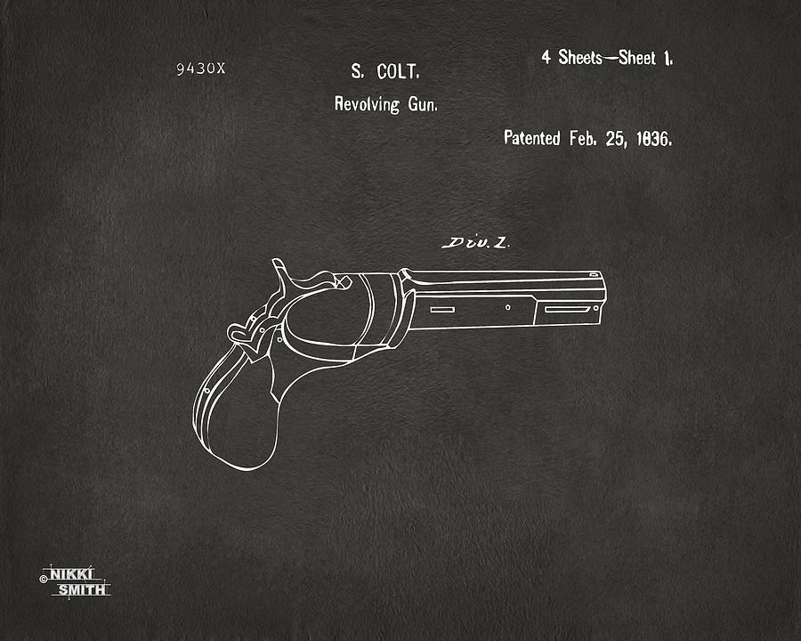 Colt Revolver Digital Art - 1836 First Colt Revolver Patent Artwork - Gray by Nikki Marie Smith
