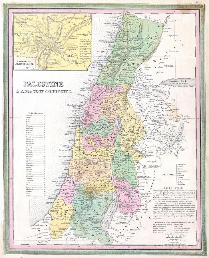 Abstract Photograph - 1836 Tanner Map Of Palestine  Israel  Holy Land by Paul Fearn