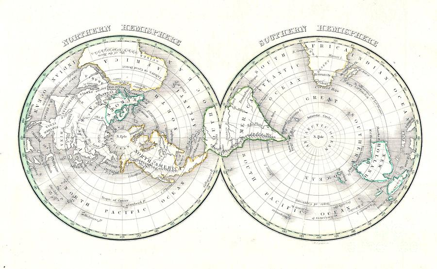 Abstract Photograph - 1838 Bradford Map Of The World On Polar Projection by Paul Fearn