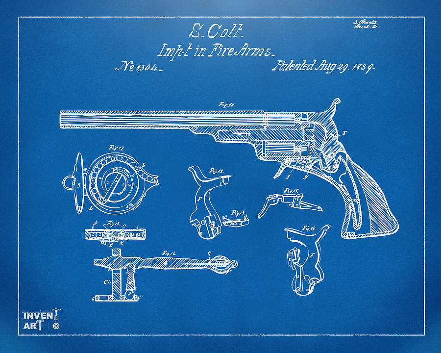 1839 colt fire arm patent artwork blueprint digital art by nikki colt digital art 1839 colt fire arm patent artwork blueprint by nikki marie smith malvernweather Gallery