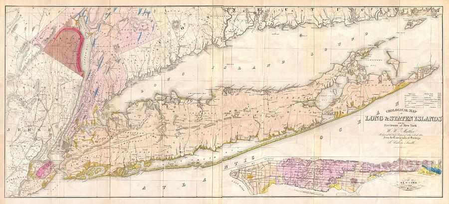 New Jersey Photograph - 1842 Mather Map Of Long Island New York by Paul Fearn