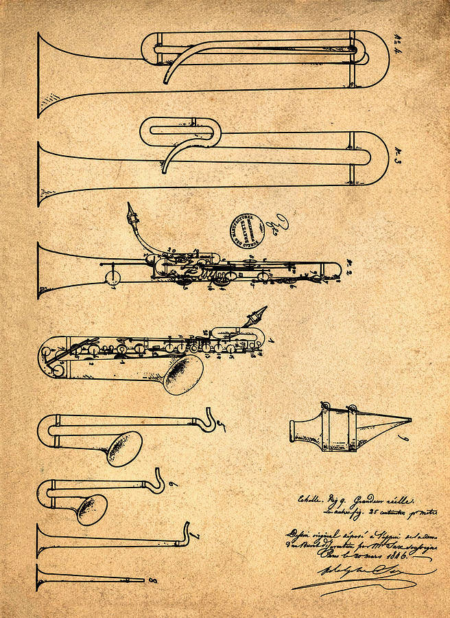 1846 Saxophone Patent Photograph by Bill Cannon