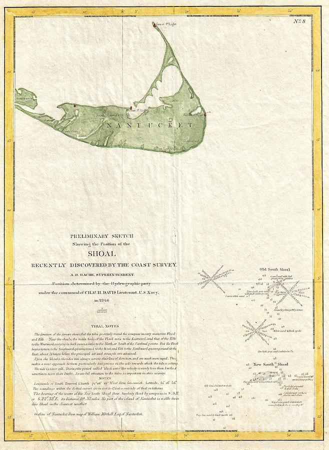 In Low Ebbs Photograph - 1846 Us Coast Survey Map Of Nantucket  by Paul Fearn