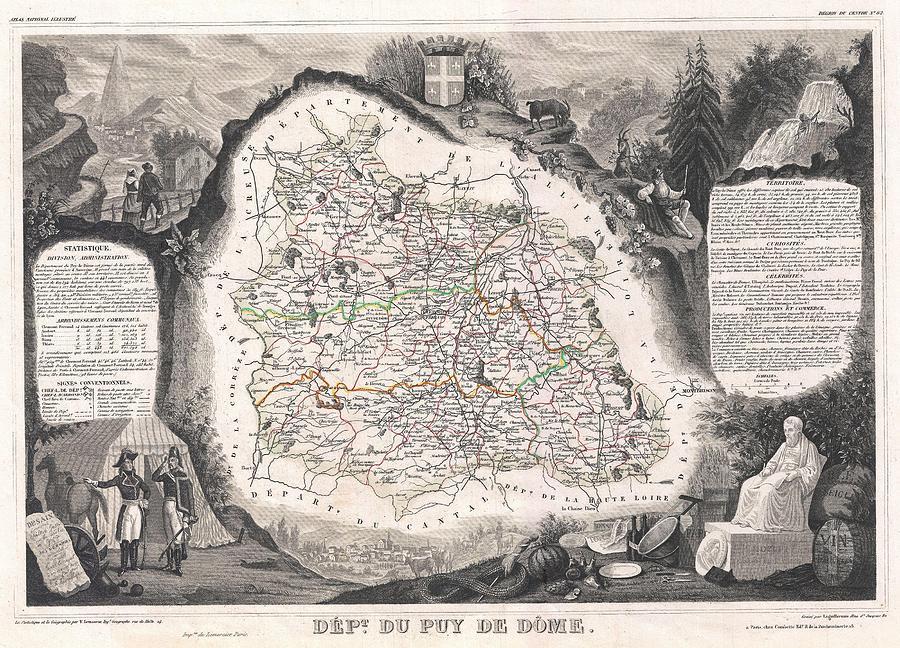 France Photograph - 1852 Levasseur Map Of The Department Du Puy De Dome France by Paul Fearn