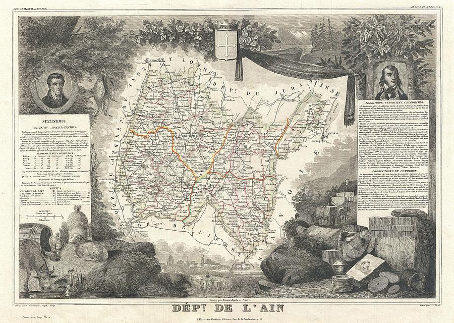 Abstract Photograph - 1852 Levasseur Map Of The Department Lain France Bugey Wine Region by Paul Fearn