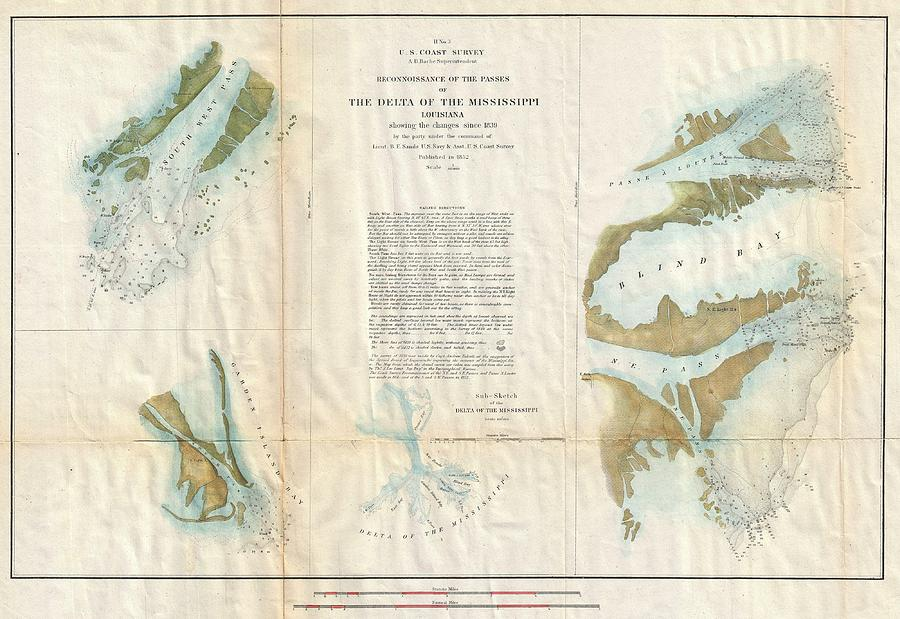 1852 Us Coast Survey Map Of The Mississippi River Delta