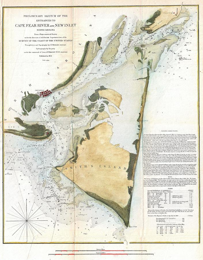 1853 Us Coast Survey Map Of Key Biscayne Bay Key West And The