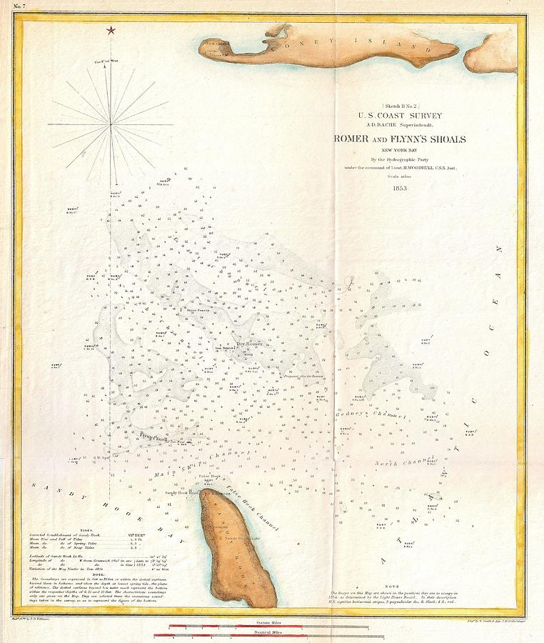 1853 Us Coast Survey Map Of The Romer And Flynns Shoals Near Coney
