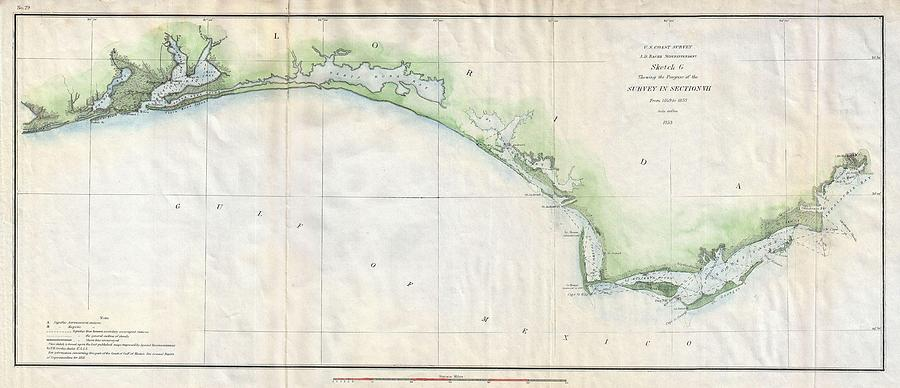 1853 Us Coast Survey Map Of The Western Florida Panhandle