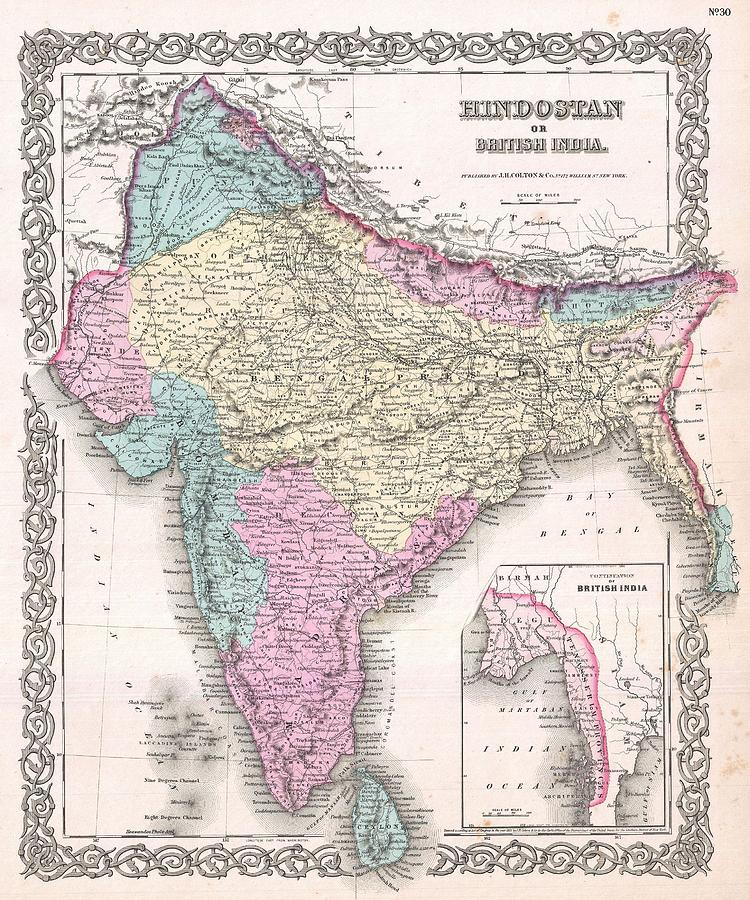 Abstract Photograph - 1855 Colton Map Of India by Paul Fearn