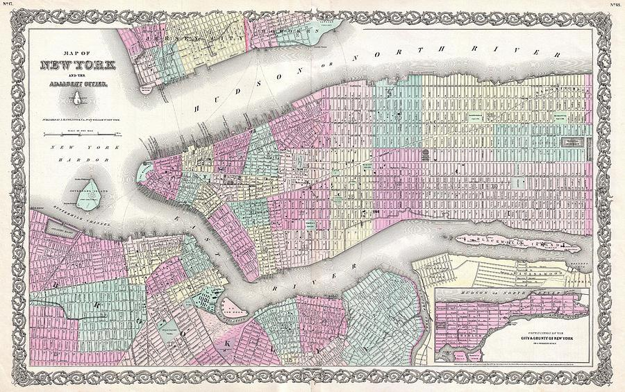 Map Of New York In 1800.1855 Colton Map Of New York City Manhattan Brooklyn Hoboken By Paul Fearn