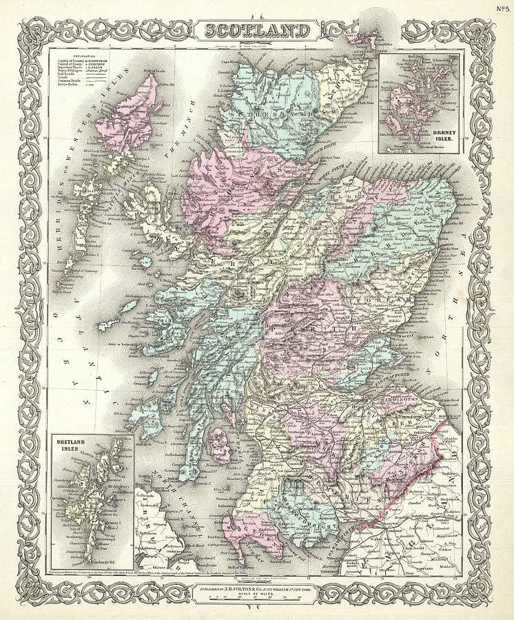 Abstract Photograph - 1855 Colton Map Of Scotland by Paul Fearn