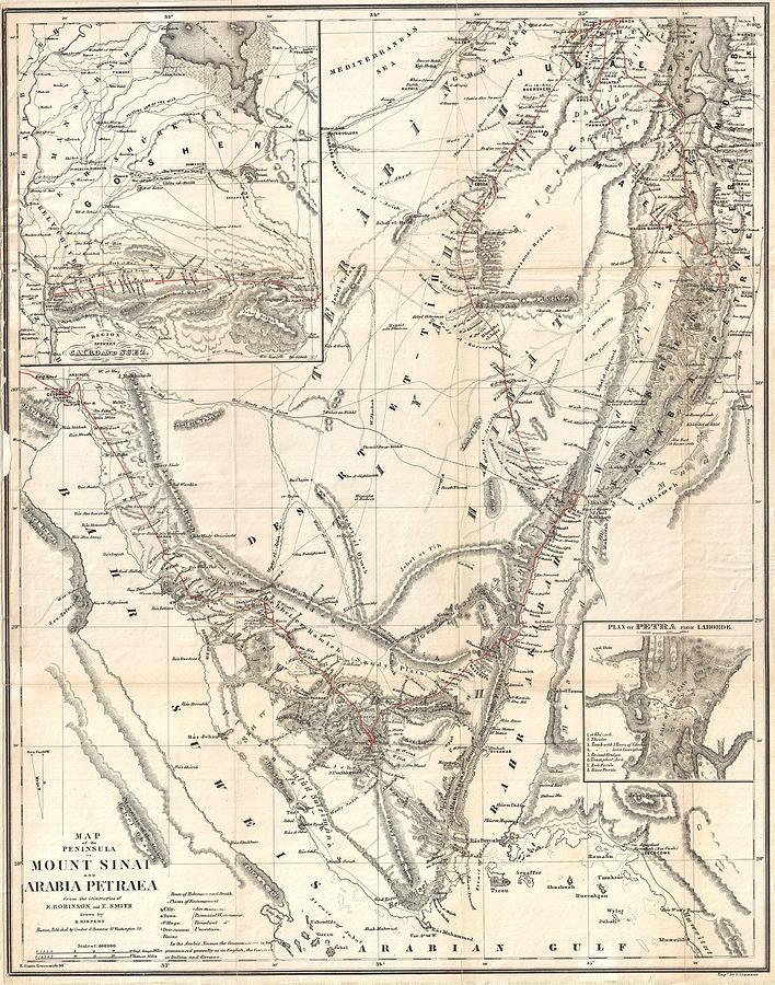 1856 Kiepert Map Of The Sinai Peninsula Egypt Photograph By Paul Fearn