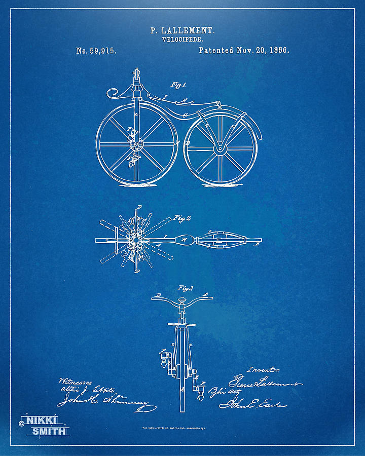 Bicycle Digital Art - 1866 Velocipede Bicycle Patent Blueprint by Nikki Marie Smith