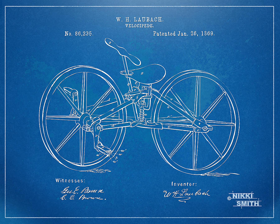1869 velocipede bicycle patent blueprint digital art by nikki bicycle digital art 1869 velocipede bicycle patent blueprint by nikki marie smith malvernweather