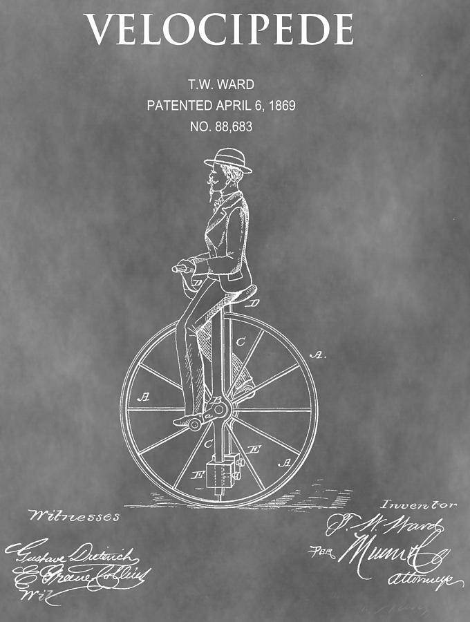 1869 Velocipede Patent Mixed Media