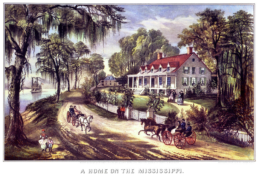 Horizontal Painting - 1870s 1800s A Home On The Mississippi - by Vintage Images