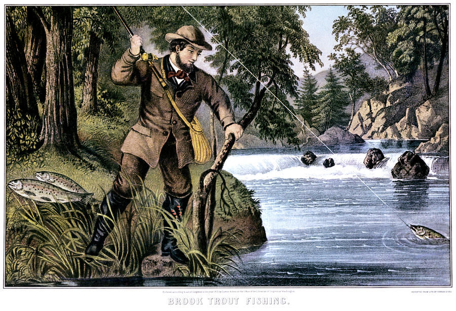 Horizontal Painting - 1870s Brook Trout Fishing - Currier & by Vintage Images