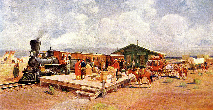 Horizontal Painting - 1870s Early Railroad Commerce Travel by Vintage Images