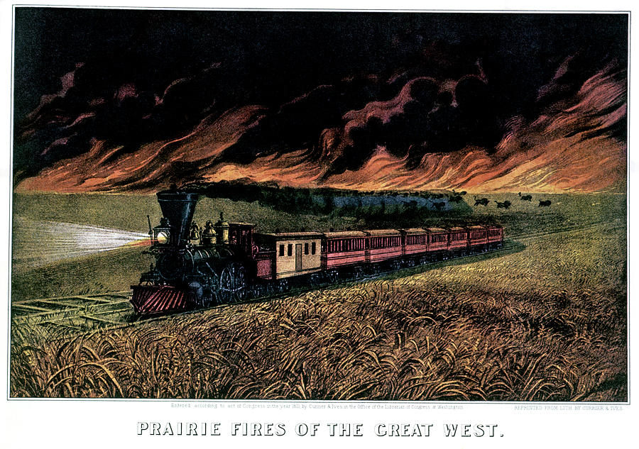 Horizontal Photograph - 1870s Prairie Fires Of The Great West - by Animal Images
