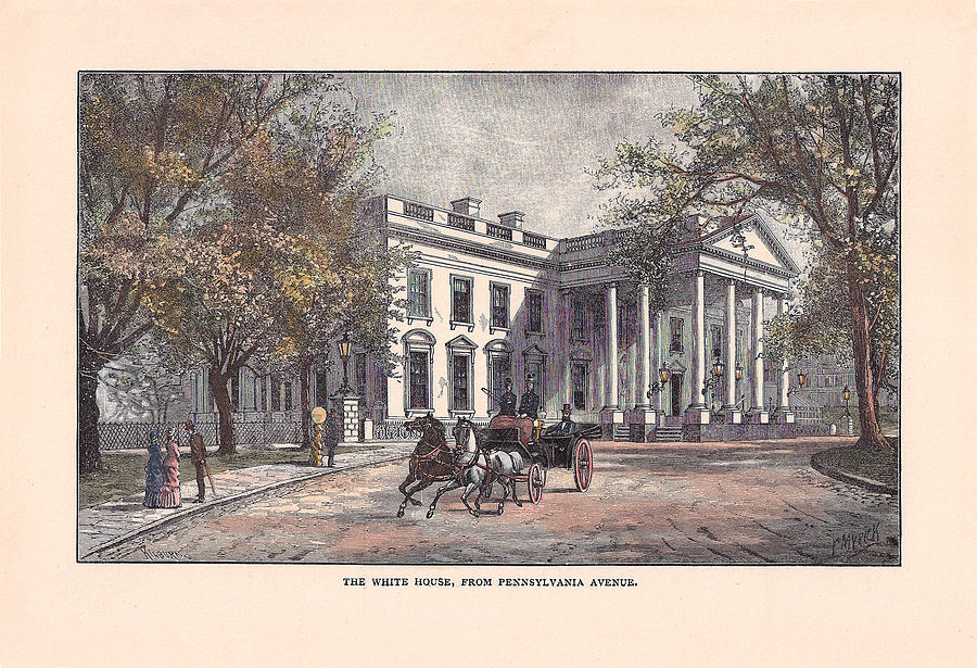 White House Drawing - 1870s White House by Charles Somerville