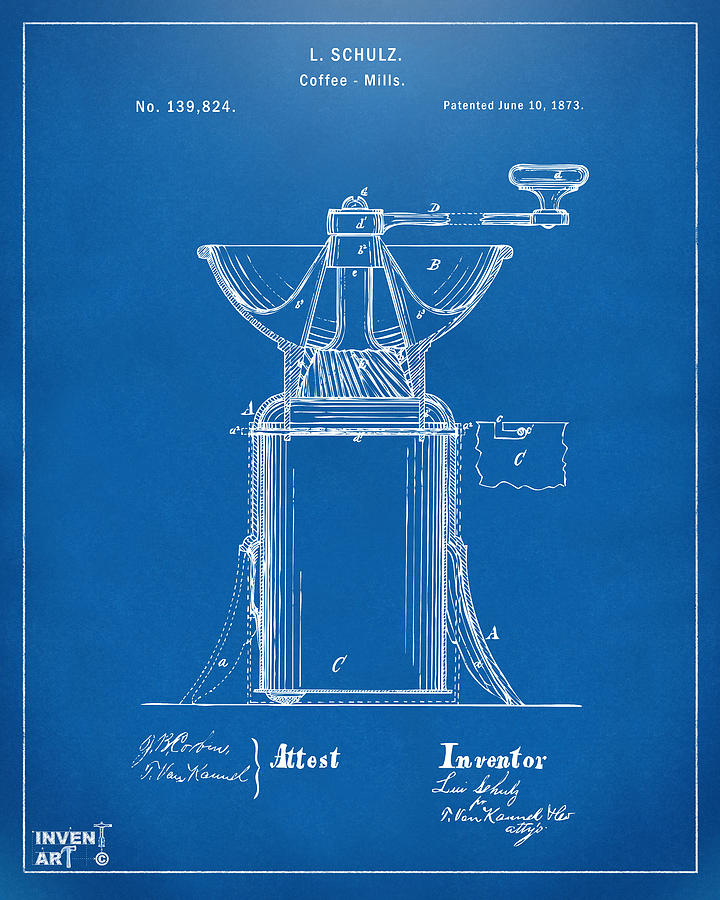 1873 coffee mills patent artwork blueprint digital art by nikki coffee digital art 1873 coffee mills patent artwork blueprint by nikki marie smith malvernweather Images