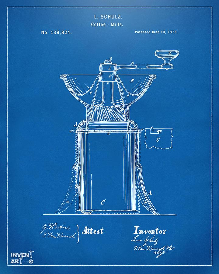 1873 coffee mills patent artwork blueprint digital art by nikki coffee digital art 1873 coffee mills patent artwork blueprint by nikki marie smith malvernweather Choice Image