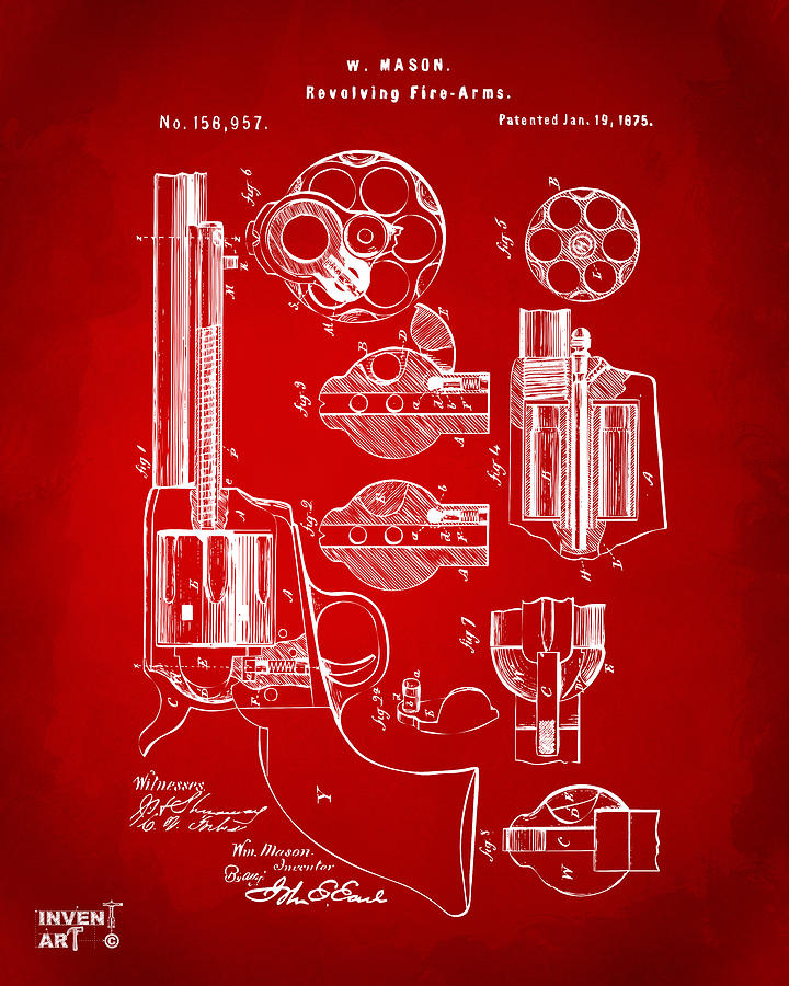1875 Colt Peacemaker Revolver Patent Red by Nikki Marie Smith