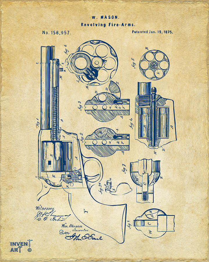 1875 colt peacemaker revolver patent vintage digital art by nikki colt digital art 1875 colt peacemaker revolver patent vintage by nikki marie smith malvernweather