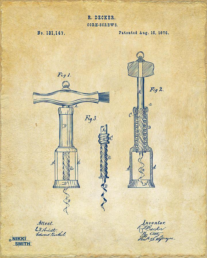 Wine Digital Art - 1876 Wine Corkscrews Patent Artwork - Vintage by Nikki Marie Smith