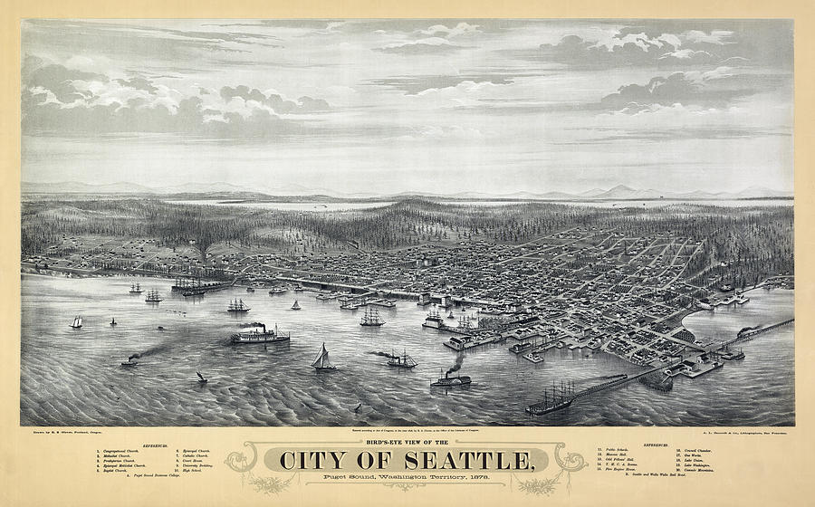 Seattle Map Photograph - 1878 Seattle Washington Map by Daniel Hagerman