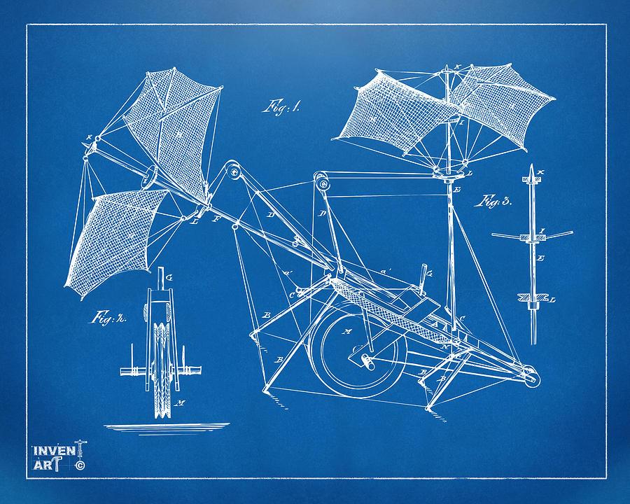 Flight Digital Art - 1879 Quinby Aerial Ship Patent Minimal - Blueprint by Nikki Marie Smith