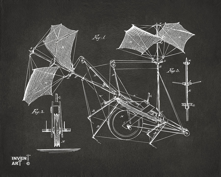 Flight Drawing - 1879 Quinby Aerial Ship Patent Minimal - Gray by Nikki Marie Smith