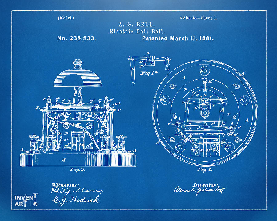 1881 alexander graham bell electric call bell patent blueprint alexander graham bell digital art 1881 alexander graham bell electric call bell patent blueprint by malvernweather Gallery