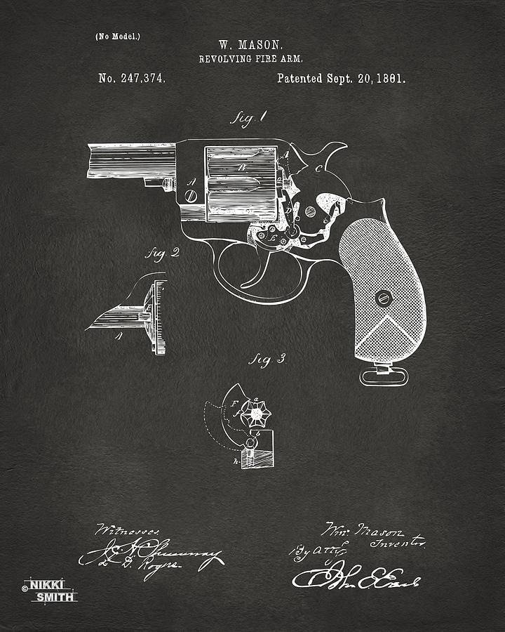 Mason Digital Art - 1881 Mason Colt Revolving Fire Arm Patent Artwork - Gray by Nikki Marie Smith