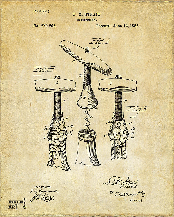 Corkscrew Digital Art - 1883 Wine Corckscrew Patent Art - Vintage Black by Nikki Marie Smith