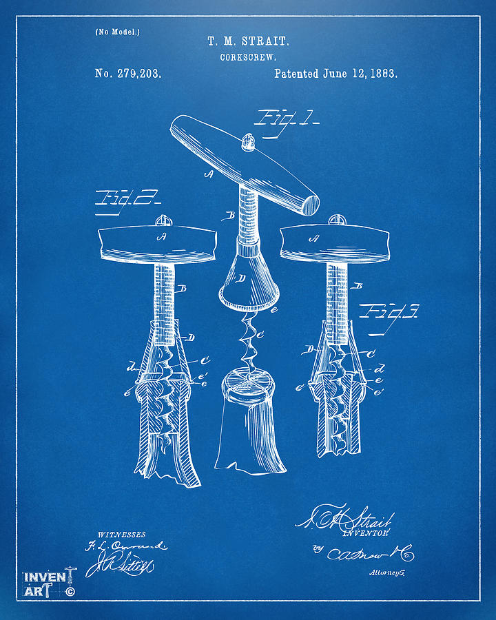 Corkscrew Digital Art - 1883 Wine Corckscrew Patent Artwork - Blueprint by Nikki Marie Smith