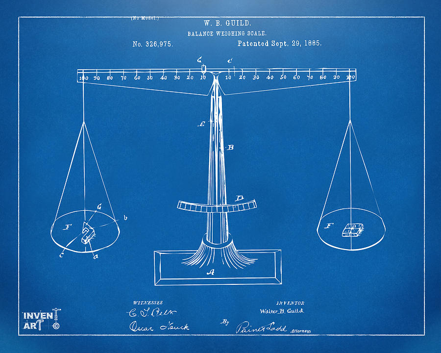 1885 balance weighing scale patent artwork blueprint digital art justice digital art 1885 balance weighing scale patent artwork blueprint by nikki marie smith malvernweather Gallery