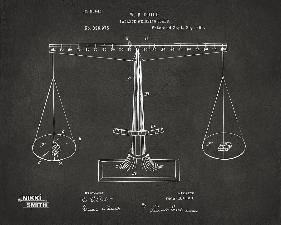1885 balance weighing scale patent artwork gray digital art by justice digital art 1885 balance weighing scale patent artwork gray by nikki marie smith malvernweather Gallery