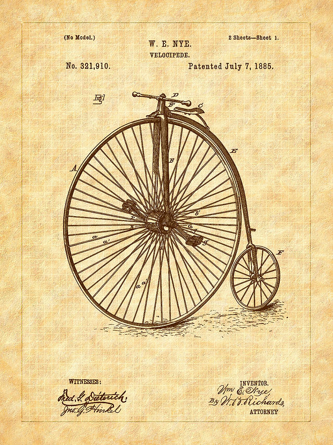 Velocipede Drawing - 1885 Nye Velocipede Patent by Barry Jones