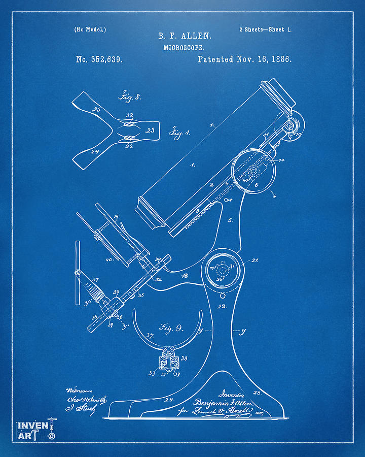 Microscope Digital Art - 1886 Microscope Patent Artwork - Blueprint by Nikki Marie Smith