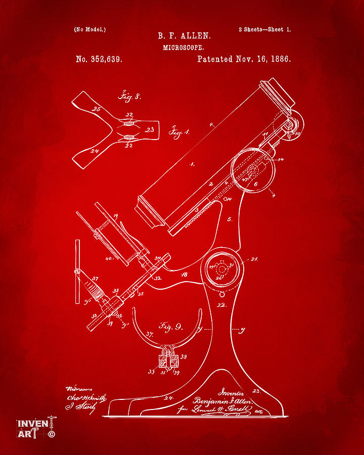 Microscope Digital Art - 1886 Microscope Patent Artwork - Red by Nikki Marie Smith
