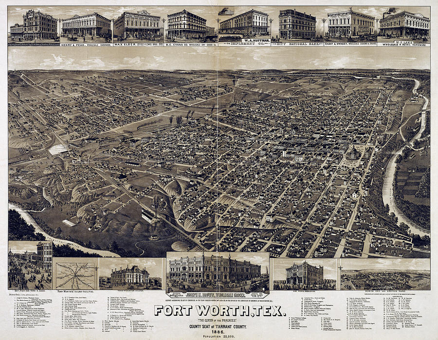 Cowtown Photograph - 1886 Vintage Map Of Fort Worth by Stephen Stookey
