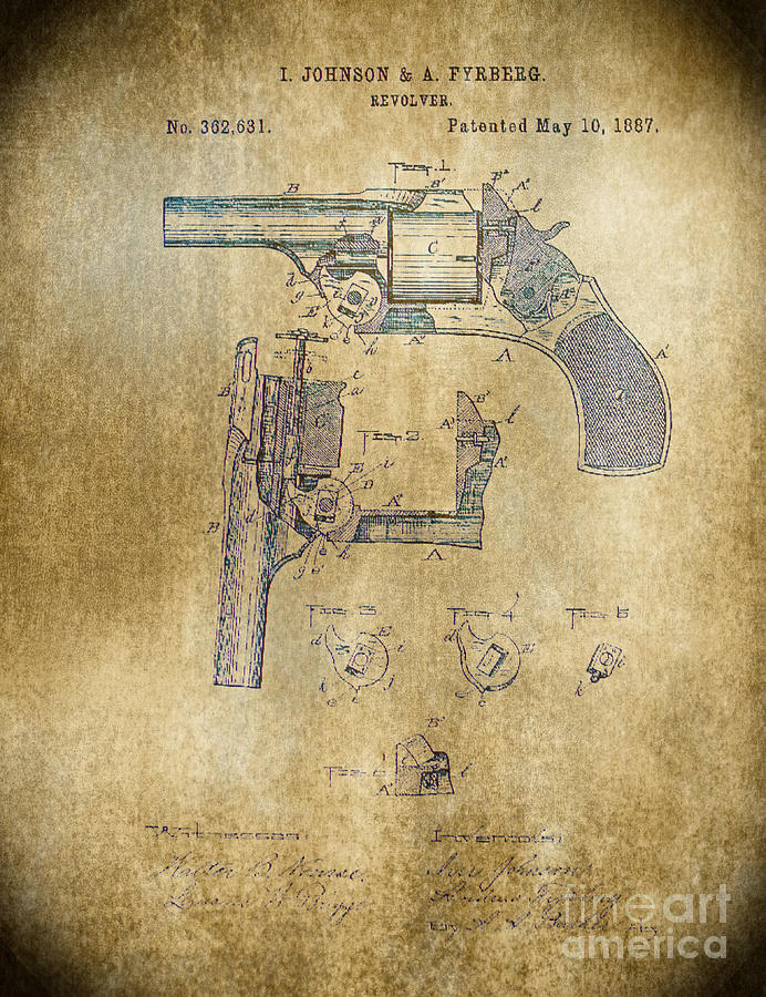 Drawing Photograph - 1887 Revolver by Steven Parker