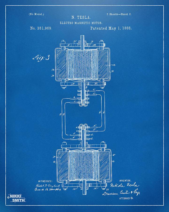 1888 tesla electro magnetic motor patent blueprint digital art tesla digital art 1888 tesla electro magnetic motor patent blueprint by nikki marie smith malvernweather Gallery
