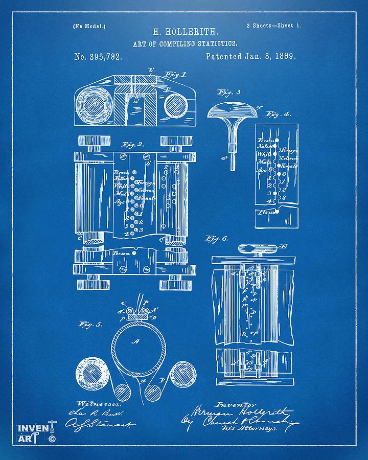 1889 First Computer Patent Blueprint Digital Art By Nikki