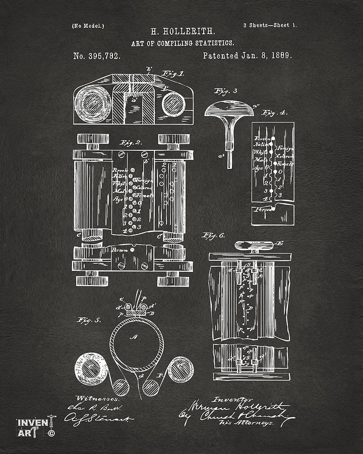 First Computer Digital Art - 1889 First Computer Patent Gray by Nikki Marie Smith