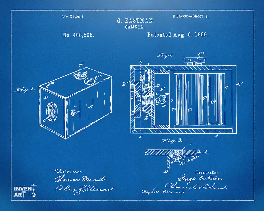1889 george eastman camera patent blueprint digital art by nikki camera patent digital art 1889 george eastman camera patent blueprint by nikki marie smith malvernweather Choice Image