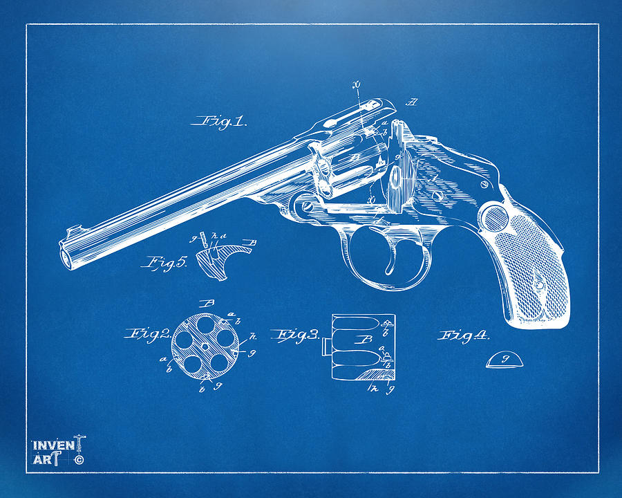 1889 wesson revolver patent minimal blueprint digital art by nikki gun digital art 1889 wesson revolver patent minimal blueprint by nikki marie smith malvernweather Choice Image